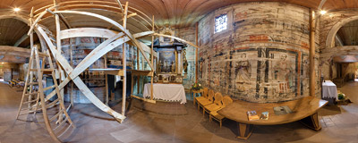 Inside the cemetery church of Visitation of the Virgin Mary in Iwkowa.  Click to view this panorama in new fullscreen window