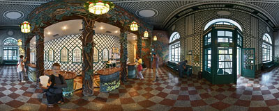 Mineral waters tap room in Iwonicz Zdrój spa resort.  Click to view this panorama in new fullscreen window
