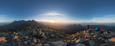 September sunset on the summit of Jahňací štít (2229 m) in Slovak Tatra Mountains.  Click to view this panorama in new fullscreen window