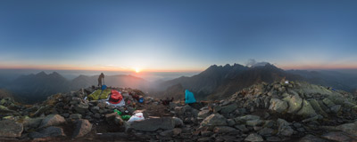 Watching the sunrise on the summit of Jahňací štít (2229 m) in Slovak Tatra Mountains.  Click to view this panorama in new fullscreen window