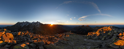 Autumn sunset on the summit of Jahňací štít (2229 m) in Slovak Tatra Mountains.  Click to view this panorama in new fullscreen window