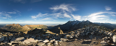 On the summit of Jahňací štít (2229 m) in Slovak Tatra Mountains.  Click to view this panorama in new fullscreen window