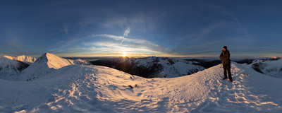 At sunset on the summit of Jarząbczy Wierch (2137 m) in the Western Tatra Mountains.  Click to view this panorama in new fullscreen window
