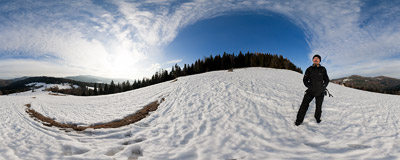 On the trail from Jasień (1052 m) to Przełęcz Przysłopek in the Beskid Wyspowy mountain range.  Click to view this panorama in new fullscreen window
