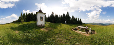 Jaworzyna Kamienicka (1200-1260 m) in the Gorce mountain range.  Click to view this panorama in new fullscreen window