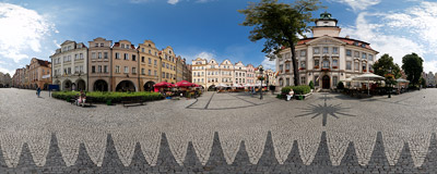 Plac ratuszowy - the Market Square of Jelenia Góra, Southwest Poland.  Click to view this panorama in new fullscreen window