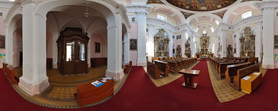 Jičín - inside the 17th century church of St. Jacob the Elder.  Click to view this panorama in new fullscreen window
