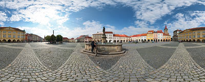 Jičín - Valdštejnovo náměstí (old town square).  Click to view this panorama in new fullscreen window