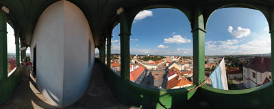 Jičín - view from the Valdická gate tower.  Click to view this panorama in new fullscreen window