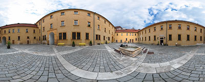 Jičín castle - large courtyard.  Click to view this panorama in new fullscreen window