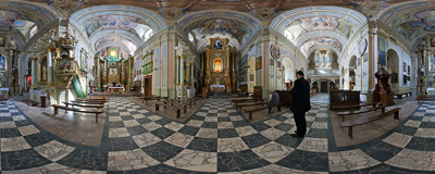 Inside the 18th-century Baroque church in Kalwaria Pacławska near Przemyśl.  Click to view this panorama in new fullscreen window