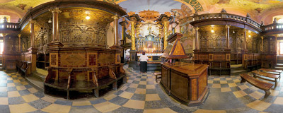 Behind the main altar in the basilica in Kalwaria Zebrzydowska.  Click to view this panorama in new fullscreen window
