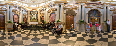 Chapel of Calvarian Mother of God in the basilica in Kalwaria Zebrzydowska.  Click to view this panorama in new fullscreen window