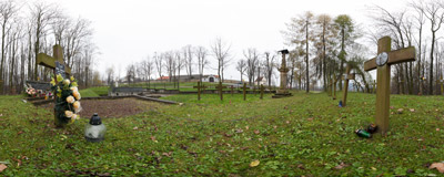 A World War I cemetery in Kalwaria Zebrzydowska.  Click to view this panorama in new fullscreen window