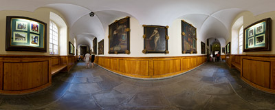 Cloisters of the Franciscan monastery in Kalwaria Zebrzydowska.  Click to view this panorama in new fullscreen window