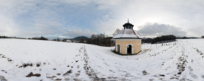 The Chapel of Bethesda (1836) on the Calvary Pathways in Kalwaria Zebrzydowska.  Click to view this panorama in new fullscreen window