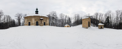 The Golgotha Hill on the Calvary Pathways in Kalwaria Zebrzydowska with chapels dating back to early 17th century.  Click to view this panorama in new fullscreen window