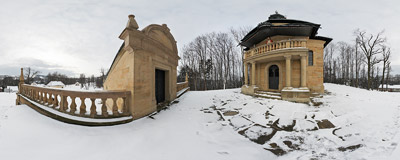The House of Pontius Pilate on the Calvary Pathways in Kalwaria Zebrzydowska.  Click to view this panorama in new fullscreen window