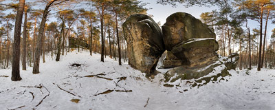 Kamienie Brodzińskiego (Brodziński Stones) near Rajbrot.  Click to view this panorama in new fullscreen window