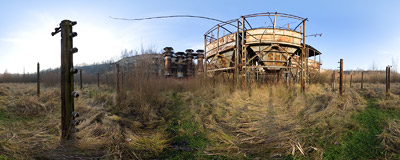 "On the bottom level of the abandoned Liban Quarry in Kraków: ruined industrial constructions and remains of the ""Schindler's List"" movie set decorations.  Click to view this panorama in new fullscreen window"