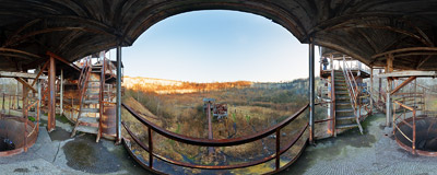 The rusty structure of abandoned lime shaft kilns in the Liban Quarry in Kraków.  Click to view this panorama in new fullscreen window