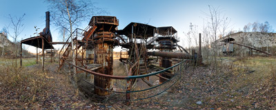 Abandoned lime shaft kilns from the 1970s in the Liban Quarry in Kraków.  Click to view this panorama in new fullscreen window
