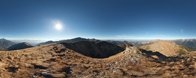 The summit of Kamienista (Veľká Kamenistá, 2126 m) in the main ridge of the Western Tatra Mountains.  Click to view this panorama in new fullscreen window