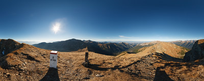 The lower of two summits of Kamienista (Veľká Kamenistá, 2126 m) in the main ridge of the Western Tatra Mountains.  Click to view this panorama in new fullscreen window