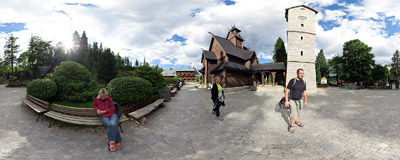 The Vang stave church in Karpacz, Southwest Poland.  Click to view this panorama in new fullscreen window