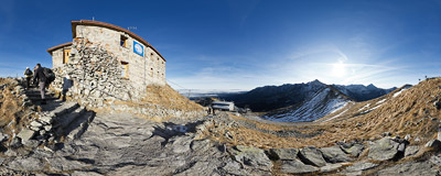 On the stairs below the meteorological observatory on the summit of Kasprowy Wierch (1987 m) in the Tatra Mountains.  Click to view this panorama in new fullscreen window