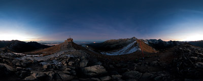 Darkness falls on the summit of Kasprowy Wierch (1987 m) in the Tatra Mountains.  Click to view this panorama in new fullscreen window