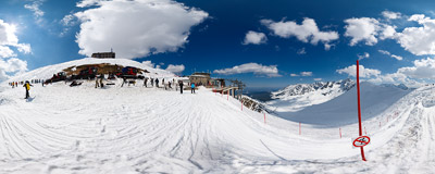 The recently rebuilt cable car takes you from Kuźnice (1020 m) to Kasprowy Wierch (1985 m) in Polish Tatra Mountains.  Click to view this panorama in new fullscreen window