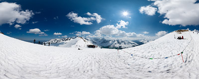 Just below the summit of Kasprowy Wierch (1985 m) in Polish Tatra Mountains.  Click to view this panorama in new fullscreen window