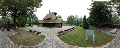 The early-16th century wooden church of St. Michael the Archangel in Katowice, built in 1510 in the village of Syrynia and moved here in 1938.  Click to view this panorama in new fullscreen window