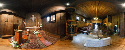 Inside the early-16th century wooden church of St. Michael the Archangel in Katowice.  Click to view this panorama in new fullscreen window
