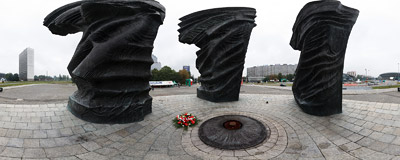 Pomnik Powstańców Śląskich (The Silesian Insurgents' Monument) in Katowice.  Click to view this panorama in new fullscreen window
