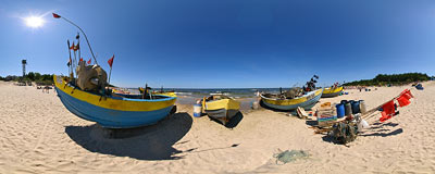 Baltic Sea beach in Kąty Rybackie.  Click to view this panorama in new fullscreen window