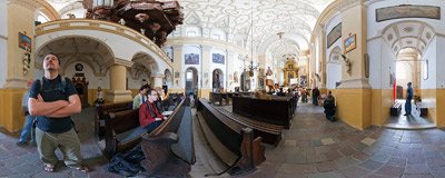 Inside the church of St. Bartholomew and St. John Baptist in Kazimierz Dolny.  Click to view this panorama in new fullscreen window