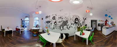 Love Krove hamburger joint on Józefa Street, Kraków.  Click to view this panorama in new fullscreen window