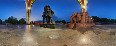 The Friendship of Nations Arch in a park on the right bank of the Dnieper river in Kiev, the capital city of Ukraine.  Click to view this panorama in new fullscreen window