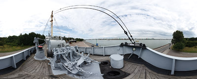 "Aboard the ""Dubingiai"" trawler in the Sea Museum in Klaipeda.  Click to view this panorama in new fullscreen window"