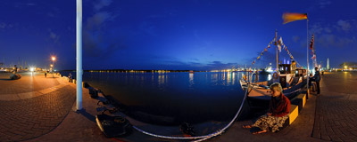 Night on the harbour of the port in Klaipeda, Lithuania: still empty but in a few hours it will stop bustling with life as Tall Ships' Races 2009 start.  Click to view this panorama in new fullscreen window