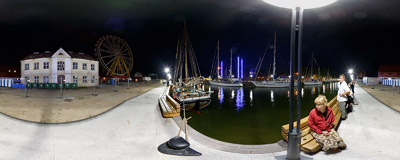 Night on the harbour of the port in Klaipeda, Lithuania.  Click to view this panorama in new fullscreen window