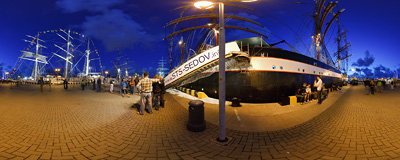 The first night of Tall Ships' Races 2009 in the port of Klaipeda.  Click to view this panorama in new fullscreen window