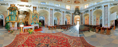 Inside the 17th century Baroque church of St. Joseph in Klimontów.  Click to view this panorama in new fullscreen window