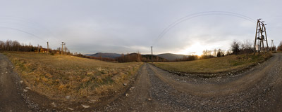 This time sunset found us near Kocembowski Groń in the Beskid Mały mountain range.  Click to view this panorama in new fullscreen window