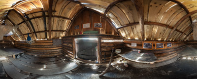 Inside the Koliba pod Klinom hut (cca 1440 m) in the Račkova Valley, Slovak Western Tatra Mountains.  Click to view this panorama in new fullscreen window