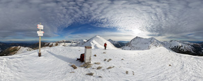 On the summit of Kończysta nad Jarząbczą (2002 m) on the Polish-Slovak border in the Western Tatra Mountains.  Click to view this panorama in new fullscreen window