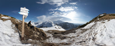 Upper Kondracka Pass near Giewont in the Tatra Mountains.  Click to view this panorama in new fullscreen window