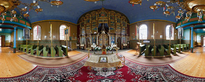 Inside the 19th-century Greek Orthodox church of Saint Basil the Great in Konieczna, Southern Poland.  Click to view this panorama in new fullscreen window
